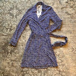Diane Von Furstenberg Blue Leopard Wrap Dress